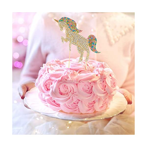 Ella Celebration Unicorn Birthday Cake Topper Unique Reusable Rainbow Rhinestone Cake Decorations for Party, Baby Shower, Event Supplies and Favors (Gold) 7