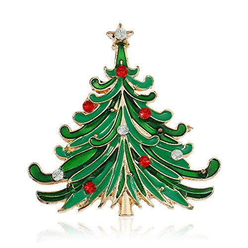 Winter's Secret Green Diamond Accented Christmas Tree Alloy Fashion Brooch Pin