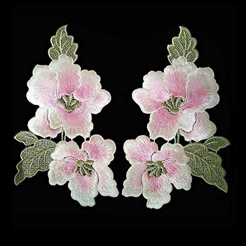 (1pair Embroidery Magnolia Flower Hand stitching Patches 18X9.5cm (Pink))