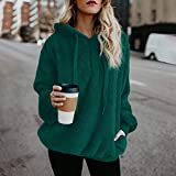 Liraly Tops For Women Clearance New Fashion Women Warm Fluffy Winter Top Hoodie Sweatshirt Ladies Hooded Pullover Jumper(US-10 /CN-XL,Green)