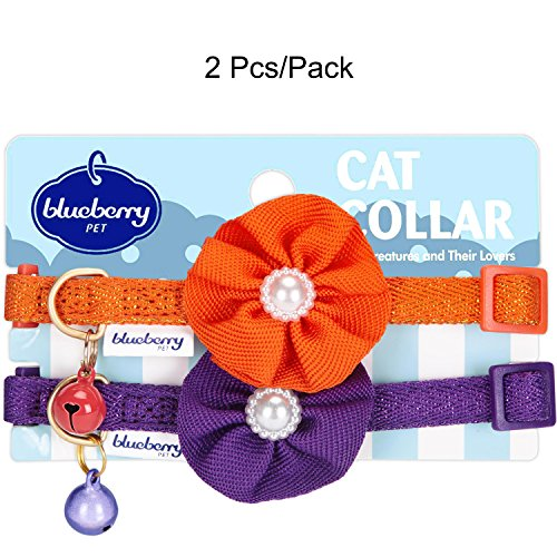 Image of Blueberry Pet Pack of 2 Cat Collars, The Beloved Fancy Metallic Thread Adjustable Breakaway Cat Collar with Bell and Flower Deco, Glamour Orange & Byzantium Purple, Neck 9