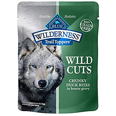 Blue Buffalo Wilderness Trail Toppers Wild Cuts High Protein Grain Free, Natural Wet Dog Food, Chunky Duck Bites in Hearty Gravy 3-oz pouch (pack of 24)