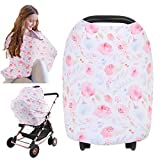 Nursing Cover for Baby Breastfeeding - Car Seat Canopy by KeaBabies - All-in-1 Soft Breathable Stretchy Carseat Canopy - Infinity Nursing Cover Up for Girls, Boys (Dainty Bloom)