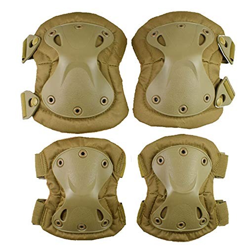 ActionUnion Adult Elbow Pad Knee Pads Protective Gear Set Guard Tactical Shooting Pads Military Army Combat Protection Sports Pads Equipment for CS Paintball Game Biking Skating (Tan)