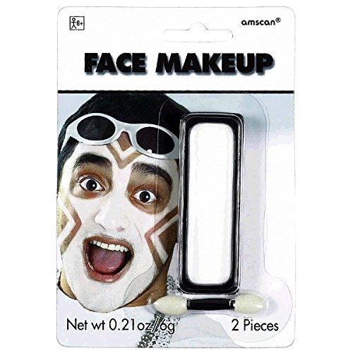 Face Theme Paint (Amscan Party Perfect Team Spirit Cream Face Makeup Accessory, White, Non Toxic , .21 Oz Costume)