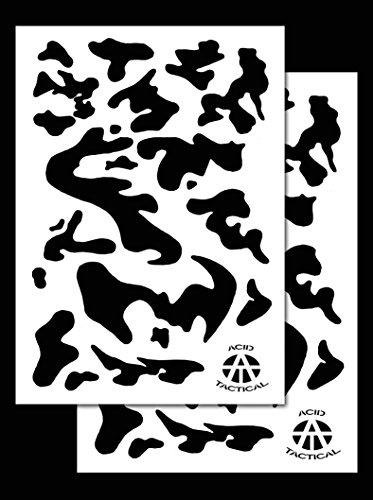 AcidTactical 2 Pack - 9x14 Single Design Camouflage Airbrush Spray Paint Stencils - Duracoat Gun (Army Camo)