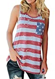 KXP Womens Sleeveless American Flag Print Blouse Top Tank