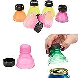 LiPing Portable Sealer 6Pcs Soda Saver Pop Beer Beverage Can Cap Flip Bottle Top Lid Protector Snap On Kitchen Utensil Tools (Ramdon)