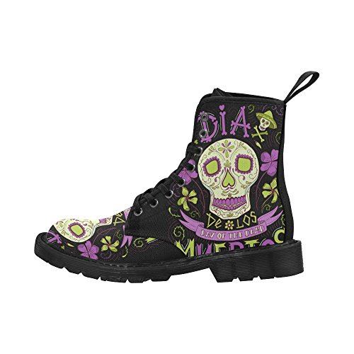 InterestPrint Day Of The Dead Skulls Flowers and Herbs Lace Up Boots Fashion Shoes For Women Black Sole