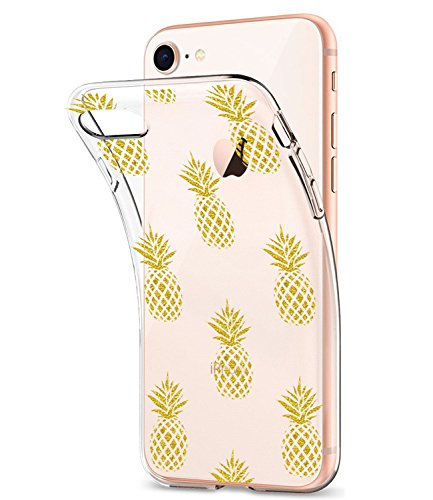iPhone 7 Case, iPhone 8 Case Clear With Design Glitter Gold Pineapple JDBRUIAN TPU Soft Protective Case Flexible Silicone Glossy Skin Cover Phone Case for Apple iPhone 7/iPhone 8