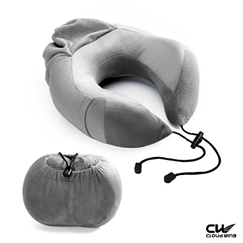 CLOUDWING-Travel-Pillow-U-Shape-Portable-Memory-Foam-Neck-Pillow-Best-for-Airplane-TravelDrivingStudyingWorkingHome-and-CampingRemovable-and-Washable-Soft-Velour-Cover-Grey