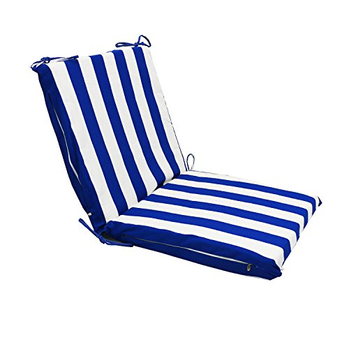 - Magshion Made USA Dining Patio Outdoor Pillow Chaise Lounge Comfort Seat Cushion Pad (2 Fold, Blue Stripes)
