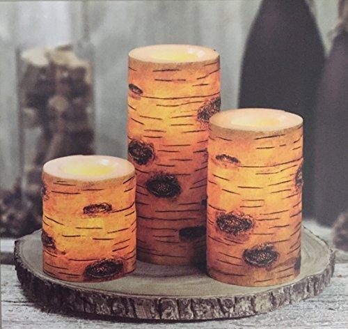 3 Flameless LED WAX Candles, Tan Birch 987580