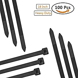 """Dekun 18"""" Heavy Duty Cable Zip Ties, Ultra Strong 175 LB Tensile Strength Industrial Grade Wire Straps, Black & White (100 Piece)"""