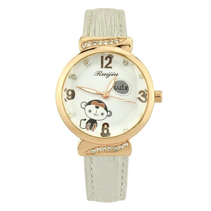 LSAltd ☪- Reloj para Mujeres Reloj con Banda de Cuero Reloj con Estampado de