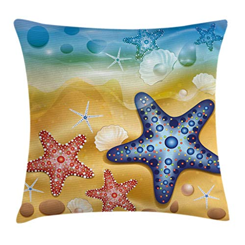 Ocean Decor Throw Pillow Cushion Cover by Ambesonne, Bright Starfish Shell Figures with Embellished Dots Beach Summer Sun Theme, Decorative Square Accent Pillow Case, 16 X 16 Inches, Amber Blue