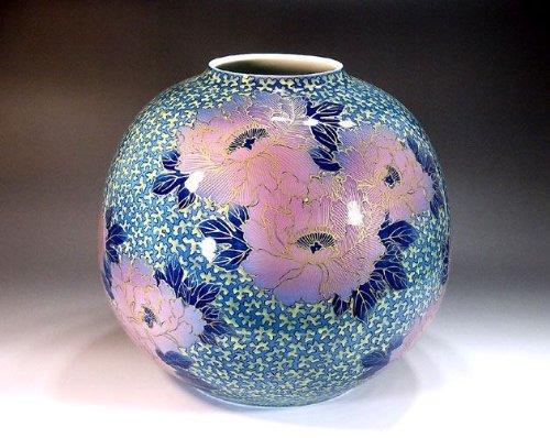 有田焼伊万里焼|花瓶陶器花器壺|贈答品|高級ギフト|記念品|贈り物|釉裏紅牡丹藤井錦彩 B00HV2JWUE
