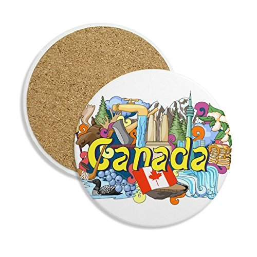 Rocky Mountains CN Tower Maple Canada Ceramic Coaster Cup Mug Holder Absorbent Stone for Drinks 2pcs Gift