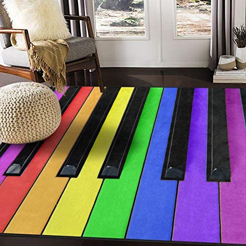 ALAZA Colorful Piano Music Rainbow Area Rug Rugs for Living Room Bedroom 7 x 5