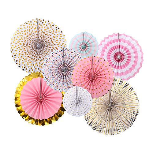 Zilue Pink Party Hanging Paper Fans Decoration Set for Wedding Birthday Party Baby Showers Round Events Accessories Set of 8]()