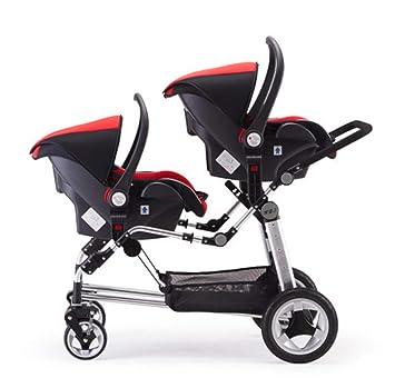 Cochecito para bebés - Gemelo Ligero y portátil Paisaje Alto Carro Doble Carro reclinable reclinable Plegable Doble Asiento Doble,Black,1#: Amazon.es: ...