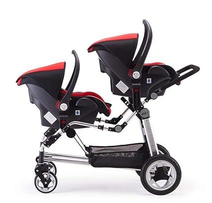 Cochecito para bebés - Gemelo Ligero y portátil Paisaje Alto Carro Doble Carro reclinable reclinable Plegable