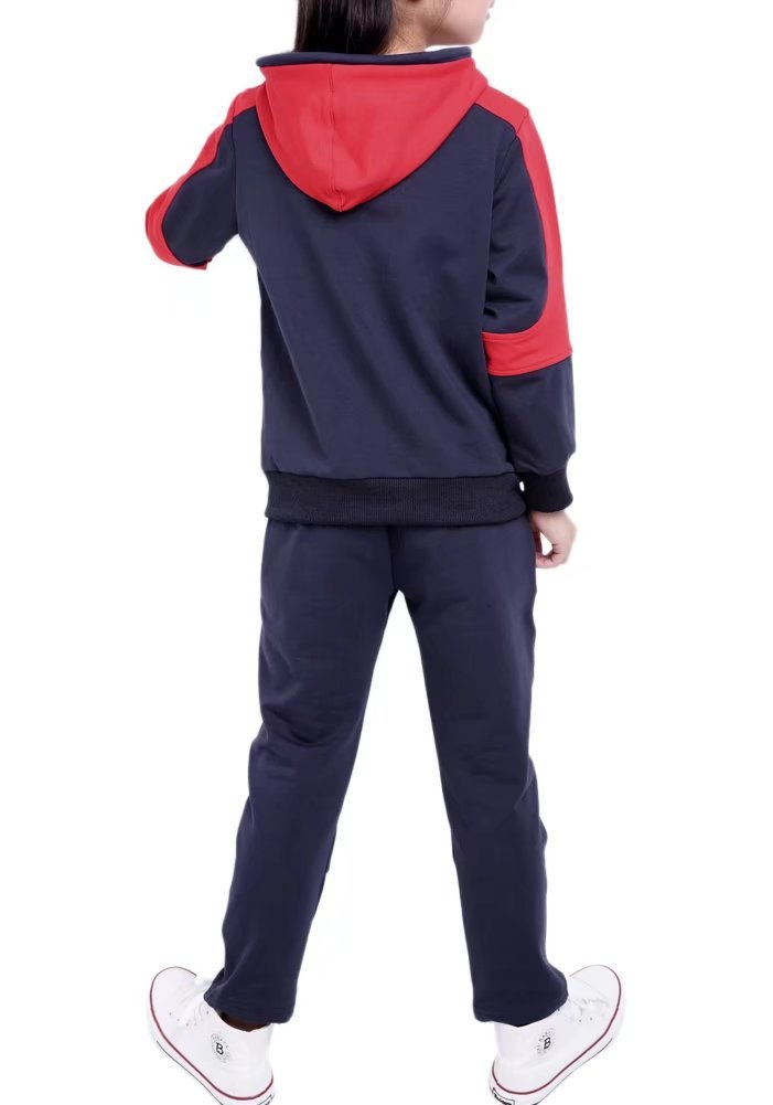 Kids Long Sleeves Zip Up Jacket & Jogger Sweat Pants Track Set Tracksuit Sportswear Outfit Sports Suit for Little & Big Girls, Black 5-6 Years=Tag 140 by BINPAW (Image #3)