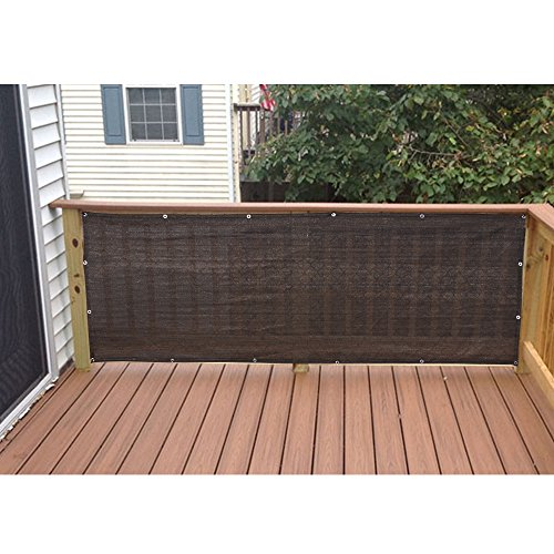 Alion Home HDPE Privacy Screen Windscreen Mesh Shade panel For Backyard Deck, Patio, Balcony, Fence, Porch, Pool -180 GSM - Custom Size Available (3' x 150', Dark Brown) by Alion Home