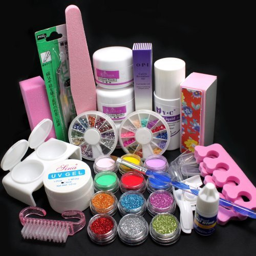 21 in 1 Pro Nail Art Decorations Uv Gel Kit Brush Buffer Tool Nail Tips Glue Colorful Acrylic Powder Glitter 4 way Buffer Block Sanding Files Set Tools #189