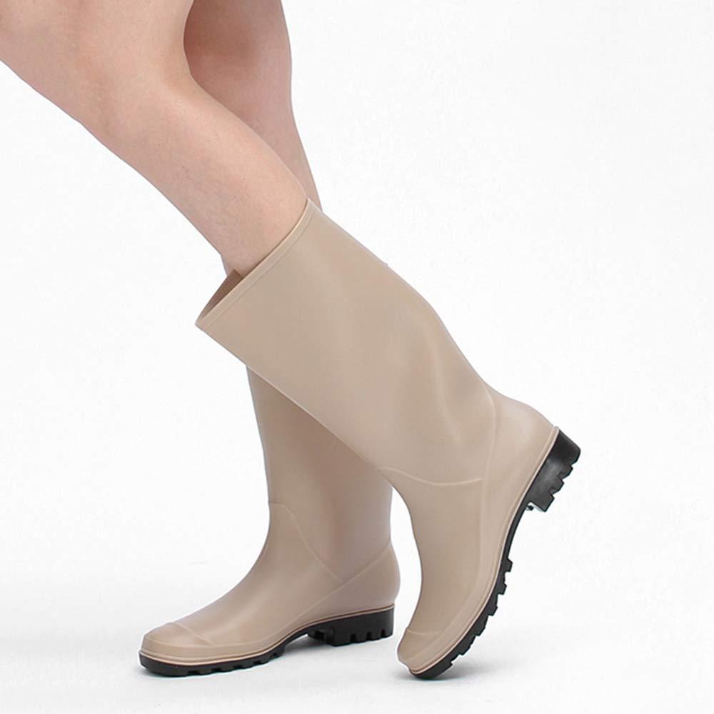 Regen Stiefel Frauen Hohe Erwachsene Stiefel Damen Erwachsene Hohe Gummi Wasserdichte Schuhe Lange Rutschfeste Stiefel Gummistiefel für Frauen Damen Wellies,Beige-40 52bd02