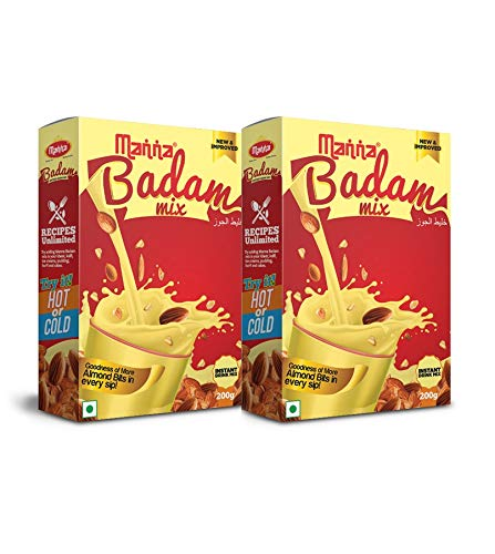 Manna Instant Badam Drink Mix with Real bits of Badam, 400g (200g x 2 Packs) . More Bits per Sip (10% Badam). Make Milk tastier