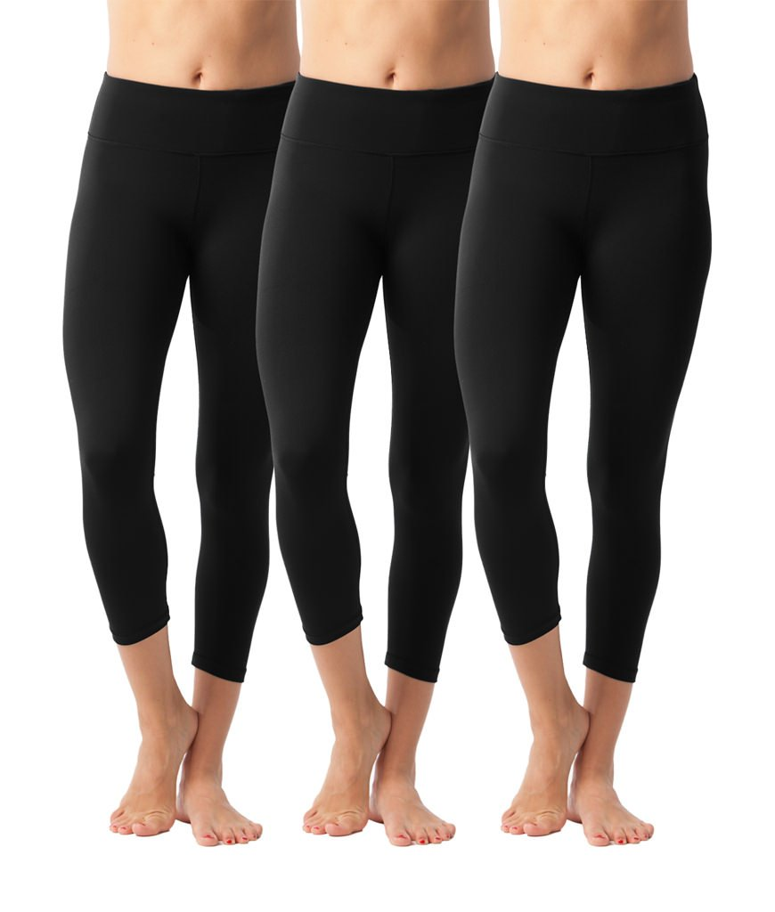 90 Degree By Reflex Yoga Capris - Yoga Capris for Women - Hidden Pocket-Black 3 Pack - XS