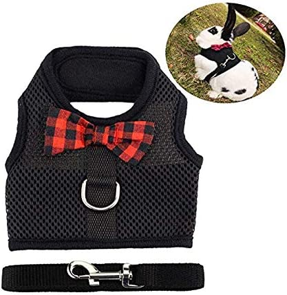 Soft Breathable Mesh Pet Chest Harness Vest Walking for Kittens,Bunny,Hamster,Guinea Pig,Ferret and Other Small Animals M, Pink + Black Tineer Rabbit Harness with Lead Leash Set