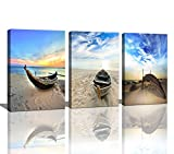 Wall Art Framed Modern Small Boat Canvas Prints Artwork Landscape Sea Beach Blue Sky Pictures Paintings on Canvas for Home Decorations