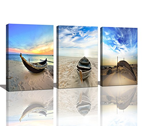 Wall Art Framed Modern Small Boat Canvas Prints Artwork Landscape Sea Beach Blue Sky Pictures Paintings on Canvas for Home Decorations by Baisuart