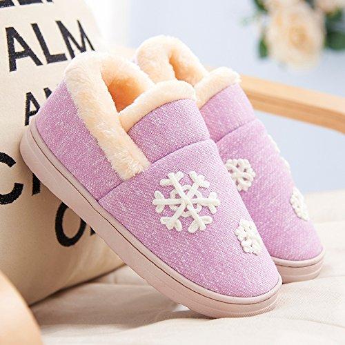 Y-Hui scarpe da uomo in inverno caldo interno antiscivolo spessore inferiore cotone pantofole pantofole amanti femmina in autunno e inverno,40-41 (Fit per 39-40 piedi),Lavanda