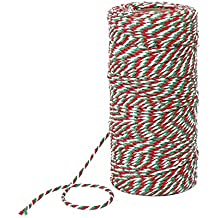 Pangda 100 Meters Red, White and Green Cotton String Christmas Candy Bakers Twine 2 mm Diameter for Gift Wrapping Christmas Decoration DIY