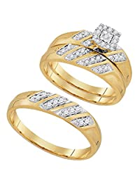 FB Jewels 10kt Yellow Gold His & Hers Round Diamond Solitaire Matching Bridal Wedding Ring Band Set 1/4 Cttw (I2-I3 clarity; J-K color)