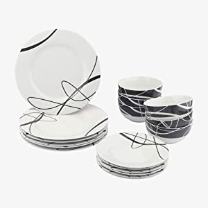 AmazonBasics 18-Piece Kitchen Dinnerware Set, Dishes, Bowls, Service for 6, Cursive