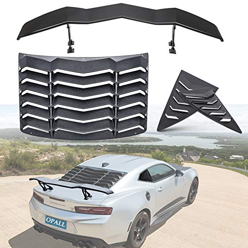 Opall for Chevy Chevrolet Camaro 2010 2011 2012 2013 2014 2015 ABS Rear and Side Window Scoop Louvers Sun Shade Cover & Trunk Spoiler Rear Spoiler Wing Tail Lid in Matte Black