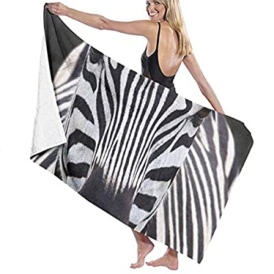 Fashion Zebra Prints Bath Towel Wrap Womens Spa Shower and Wrap Towels Swimming Bathrobe Cover Up for Ladies Girls - White