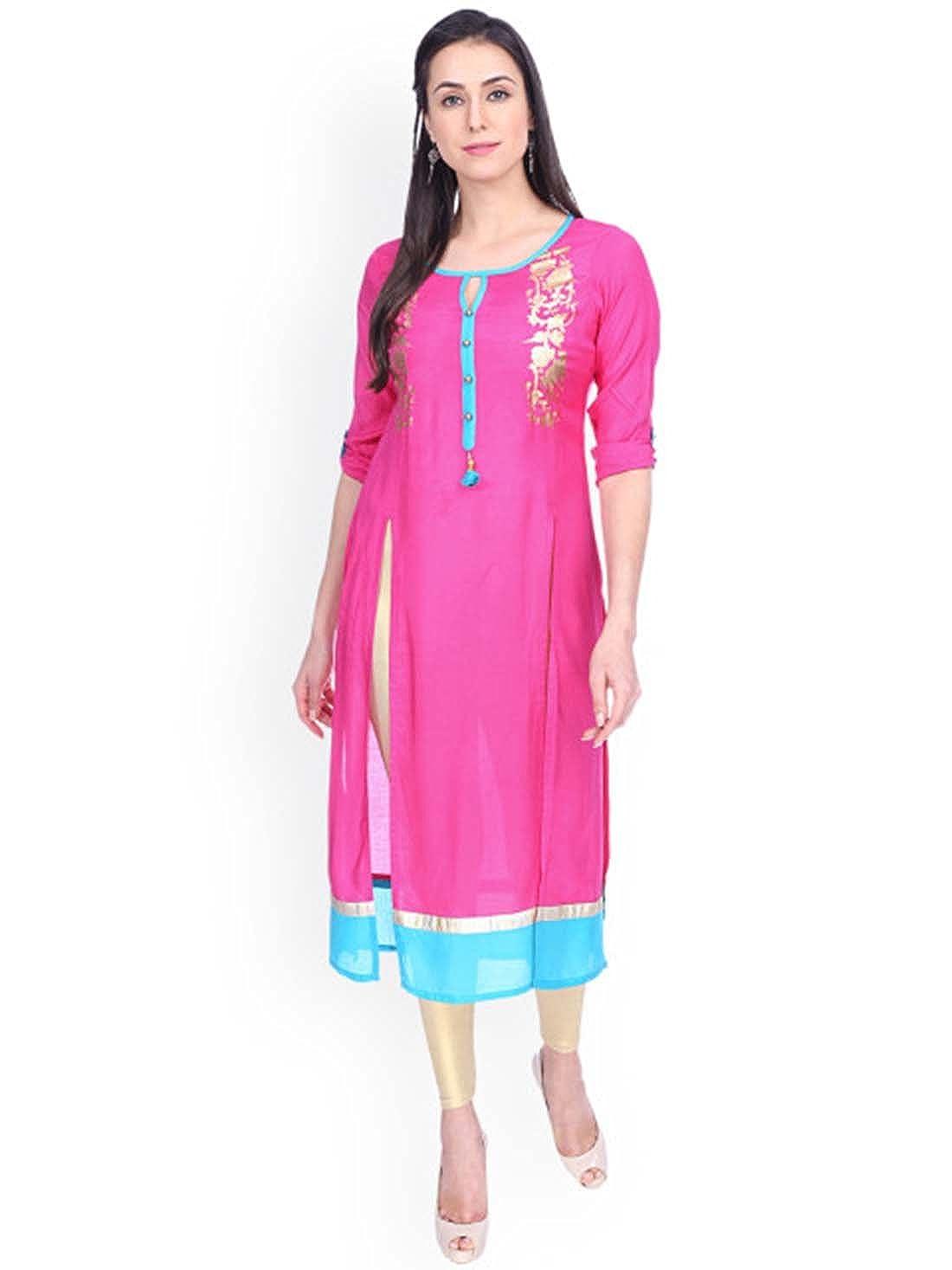 Indian Ink Women Red Colourblocked Kurta (Size  S)