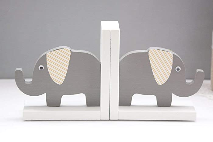 Amazon com: Elephant Bookends With White and Yellow Striped