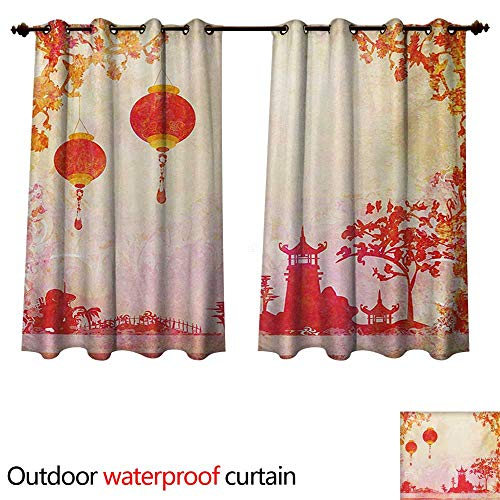 n Outdoor Ultraviolet Protective Curtains Chinese Landscape with Lanterns and Pagoda Temple Spirituality Meditation Habitat W72 x L72(183cm x 183cm) ()