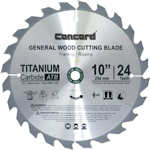 Concord Blades WCB1000T024HP 10-Inch 24 Teeth TCT General Purpose Hard & Soft Wood Saw Blade