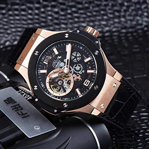FidgetGear Luxury Automatic Mechanical Watch Tourbillion Homage Sapphire Crystal Dial Gold Black ()
