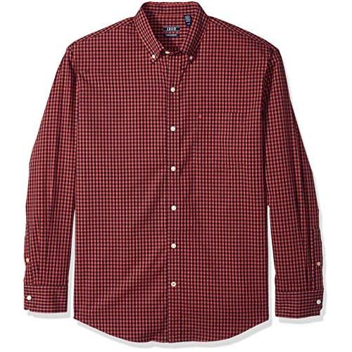 IZOD Men's Button Down Long Sleeve Stretch Performance Gingham Shirt