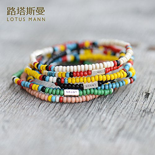 Generic Way_Tasman_925_pieces silver -colored_african_trade_ bead _glass_a_small_series_ bracelet bangle ()