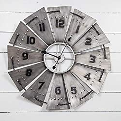 Grey Black Windmill Clock Oversized Western French Country Rustic Farmhouse Theme Gray Vintage Industrial, Metal 31 Inches
