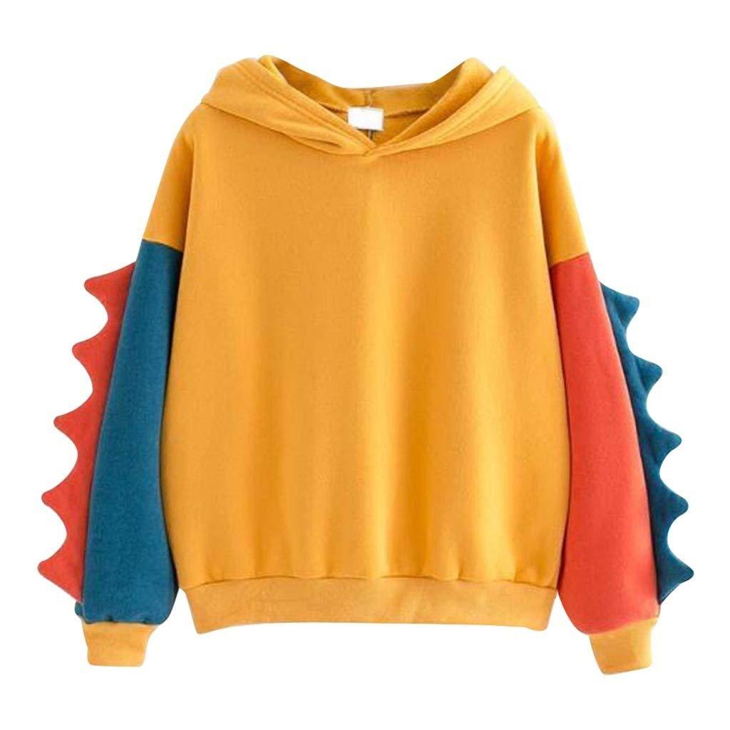Xinantime Womens Sweatshirt Long Sleeve O-Neck Splice Dinosaur Casual Loose Top Blouse Yellow by Xinantime